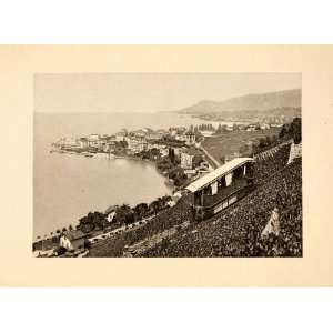 1902 Photogravure Lake Geneva Leman Switzerland France Montreux Righi