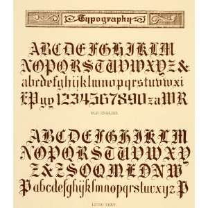 Alphabet Old English Font   Original Lithograph: Home & Kitchen