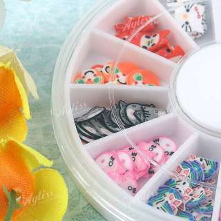Cat Bear Rabbit Mix 3D Fimo Slice Canes Sticker Nail Art Cute