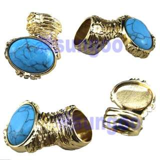 Oval Turquoise Chunky Armor Cross Cage Knuckle Cocktail Ring Gold Tone