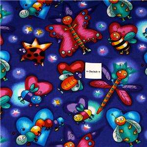 Timeless Treasures Blue Cotton Fabric Bugs 18 X 20