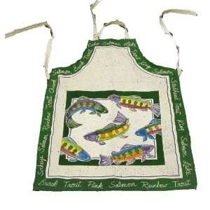 Grilling Apron featuring; Brook, Rainbow Trout, Pink Coho Salmon