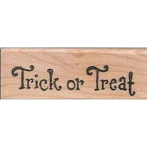 Small Classic Trick or Treat Wood Mounted Rubber Stamp