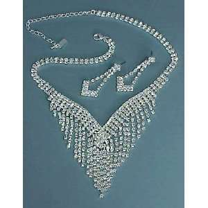 RHINESTONE NECKLACE & EARRING SET   SILVER OR GOLD