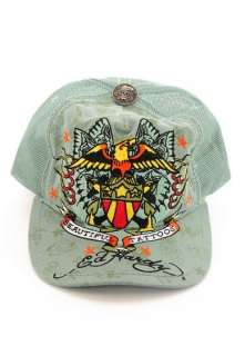 NWT DON ED HARDY BEAUTIFUL TATTOOS EAGLE CAP TRUCKER HAT GREEN