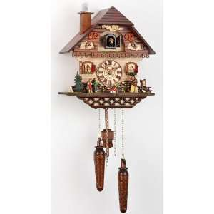 Quartz Cuckoo Clock Black forest house, incl. batteries TU