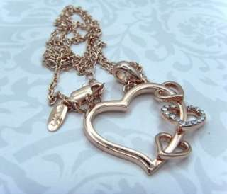18K rose gold plated 3 Small Heart Woman Necklaces N61