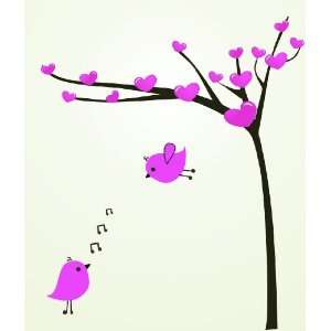 Removable Wall Decals  Tree Heart Birds