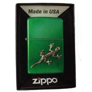 Zippo Custom Lighter   Gecko Lizard Emblem Logo Symbols Meadow Green