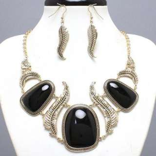 necklace set gold black earings costume jewelry leafs big large stones