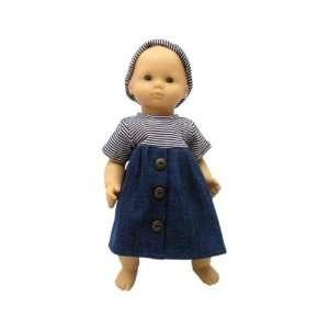 Girl Doll Clothes Dark Blue Denim Dress for Bitty Toys & Games