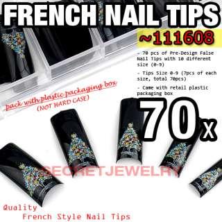70 pcs Acrylic False Nail Tips Snow Christmas Tree #608