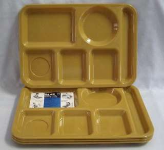 Lot of 4 Vintage SiLite Plastic Trays 614 Gold Color