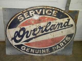Old Willys Jeep Overland Service Auto Dealer Gas Motor Oil Porcelain