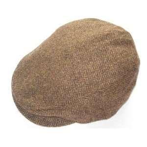 Irish Made Tweed Flat Cap   Brown Herringbone   Large