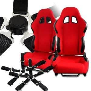 Universal JDM Red Reclinable Racing Seats w/ Black PVC Leather and
