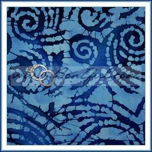 BOOAK Fabric Cotton Quilt Dark Light Denim Blue Batik Swirl Tie Dye