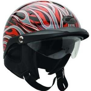 Bell Flames Pit Boss Harley Motorcycle Helmet   Black/Red