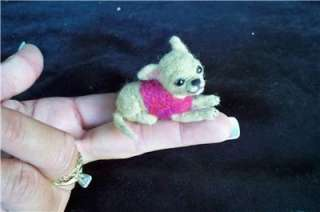 MINIATURE BEAR ARTIST OOAK NEEDLE FELTED BABY CHIHUAHUA PUPPY DOG DOLL