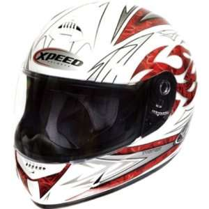 Xpeed Torture XP507 On Road Motorcycle Helmet   White/Red