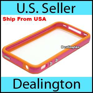Apple iPhone 4 Orange+Pink Bumper Case w/ Metal Buttons