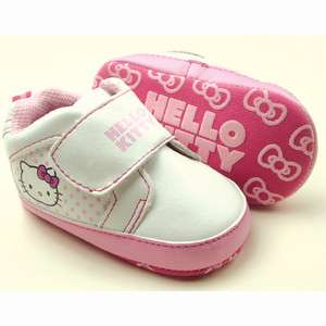 New Baby Girls White Pink Kitty Walking Shoes 12 18 Month 931