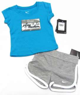NIKE Baby Girls Blue Tee Shirt & Gray Shorts Play Maker Set NWT $26