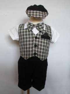 NEW Baby Boy Formal Wedding Party Easter Vest Shorts Suit Outfits size