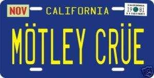 Motley Crue band metal California License plate