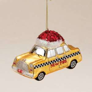 Pack of 6 New York City Yellow Taxi Cab Blown Glass