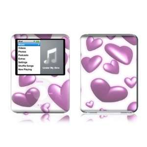 Pink Hearts Design Protective Decal Skin Sticker for Apple iPod nano