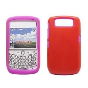 Premium Two tone Hot Pink Gel Skin and Solid Red Back Cell