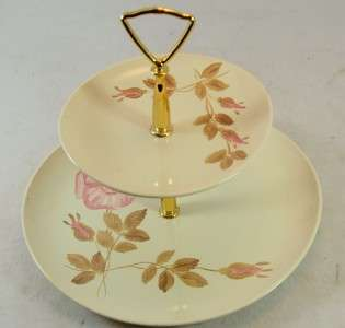 Red Wing Rose 2 Tier Tidbit Tray Serving 10 Plate