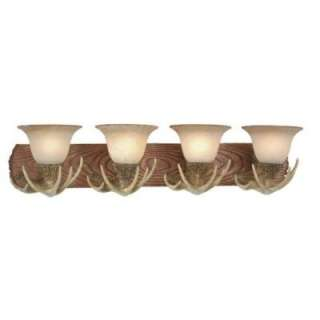NEW 4 Light Rustic Faux Antler Bathroom Vanity Lighting Fixture, Cream