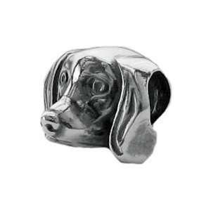 Silver Dachshund Dog Face Charm.