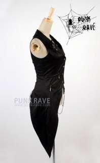 fashion punk goth asymmetric vest jacket top S XL
