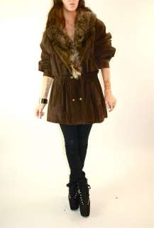 Vtg 80s Suede leather Chubby FOX FUR collar mini dress PARKA cape coat