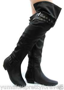Thigh High Boots Over Knee Low Heel Women Dress Shoes