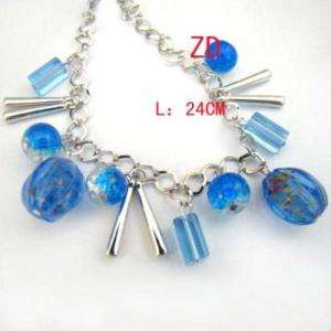 A0196 Blue glass Pumpkin beads Crystal Anklet Bracelet