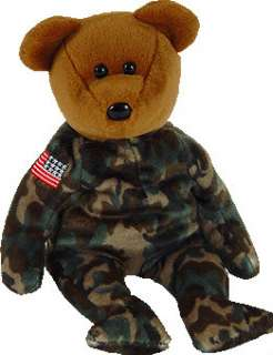 TY Beanie Baby 2003 HERO Rev. USA Flag TEDDY BEAR MWMT