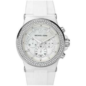 New Authentic Michael Kors MK5392 White Silicone Swarovski Womens