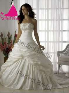 Wedding Dress Bridal Gown Bride Party Taffeta Prom Ball Applique New