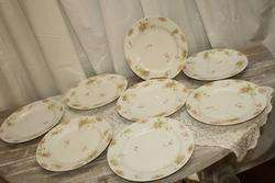 Theodore Haviland French Limoges Dinner Plates Pink Wildflowers Gold
