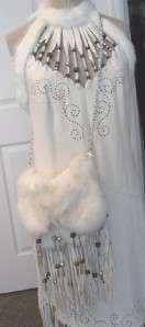 Custom WHITE LEATHER Fur Trim Fringe JACKET CAPE Dress HANDBAG Purse