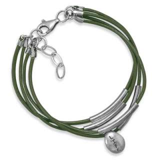 Multistrand Leather Bracelet with Charm Sterling Silver Sister