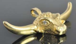 Vintage 14K Yellow Gold Texas Longhorn Cow Bull Diamond Slide Pendant