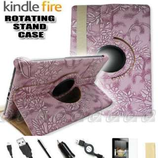 For Kindle Fire PU Leather Case Cover/Stylus/Car Charger/USB Cable