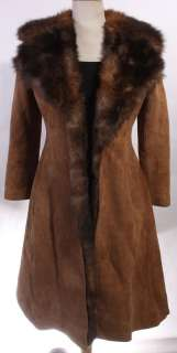 WOMENS VTG SOFT LEATHER/REAL SHEEPSKIN RANCH COAT sz M