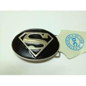 Licensed Superman S Logo Oval Black and Silver Finishing Belt Buckle