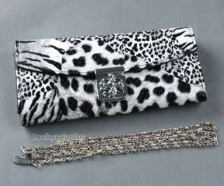 I800 White Tiger Print Flower Buckle Lady Wallet Purse Shoulder Hand